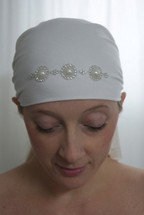 Pearl Medallion Self Tie Head Scarf in white by Sparkle my head scarves