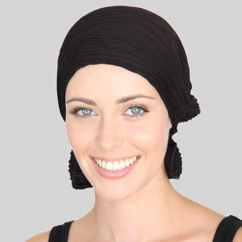 Amy Wavy Knit Chemo Beanie - Black Wavy Knit