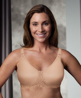 f57b07bd62b32 Trulife Audrey Seamless Lace Accent Underwire Mastectomy Bra in Latte