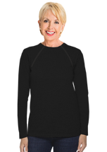 Women's Black Chemo|Port-Accessible Long Sleeve Shirt by Comfy Chemo