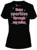 "Chemo|Port-Accessible Hope Women's Shirt by Comfy Chemo  - ""hope sparkles through my veins"" - Black with pink text"