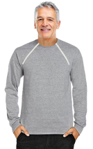 Men's Chemo|Port-Accessible Long Sleeve Shirt by Comfy Chemo in Grey