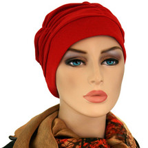 Red Shirred Cap by Hats for You