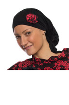 Black Headwrap with Coral Floral Rose by Wrapped in Love. Choose Hat Only, Poncho Only or Hat & Poncho Set