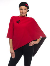 Black/Red Reversible Port Accessible Chemo Poncho