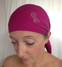 Breast Cancer Awareness Ribbon Pre-Tied Head Scarf in Magenta with Silver and Pink Ribbon by sparkle my head scarves.