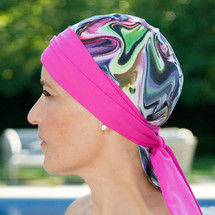 Bwell11 Pink Watercolor Bandiva Swim Cap