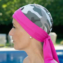Bwell11 Bandiva Swim Cap in Camo pattern with pink band