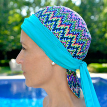 BWell11 Zig Zag Bandiva Swim Cap in Multicolor