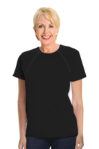 Women's Black Short Sleeve Port-Accessible Chemo Shirt by Comfy Chemo