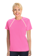 Women's Pink Short Sleeve Port-Accessible Chemo Shirt by Comfy Chemo