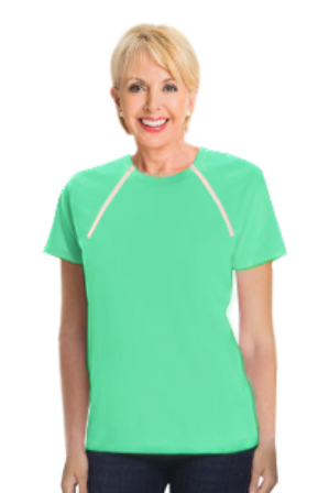Women's Aqua Green Short Sleeve Chemo|Port-Accessible Shirt by Comfy Chemo