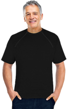 Men's Black Short Sleeve Chemo|Port-Accessible Shirt by Comfy Chemo