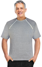 Men's Grey Short Sleeve Port-Accessible Chemo Shirt by Comfy Chemo
