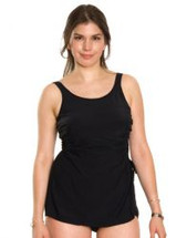 Classic Sarong Mastectomy Swimsuit by T.H.E.  - Black