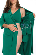 The Recovery Brobe in Green is designed for women undergoing any breast surgery such as mastectomy, reconstruction, breast augmentation or reduction. Inside the robe are pockets on either side to hold post-operative fluid drains. The front velcro closure bra also has pockets built inside to hold ice packs and/or a prosthetic breast.