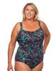 Shirred Girl Leg One Piece Mastectomy Tank in Women's - purple, blue, black leaf print