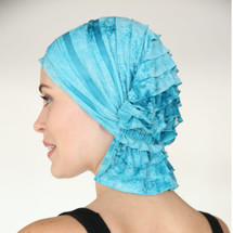Molly Chemo Beanie - Aqua Tie Dye Ruffle
