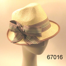 Light Taupe and Brown Fedora with Ribbon by Giovanni