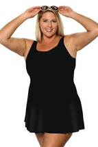 Princess Mastectomy Swimdress in Solid Black in Women's Sizes by T.H.E.