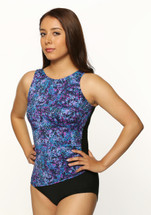 Draped High Neck Mastectomy Swim Tank by T.H.E. in Galaxy - multi color print