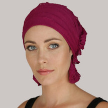Kathryn Ruffle Chemo Beanie - magenta ruffle