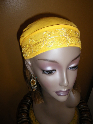 ABonita Scarf by Bonita - Chemo Scarf in Canary Yellow with Sequins & Embroidery