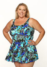 Princess Mastectomy Swimdress in Morikami Gardens print in Women's Sizes by T.H.E. - Blue Floral Print