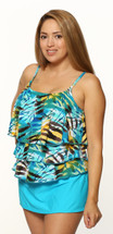 Triple Tier Tankini Swim Top Separate in Angelfish Print in Women's Sizes by T.H.E  - Aqua Abstract Print