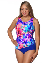 Draped Mastectomy Swim Tank by T.H.E. in Heavenly Hibiscus Print