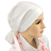 Mini Calypso Scarf  in White Cotton Silk by Hats for You