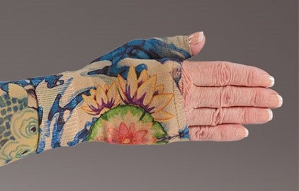 Lymphedivas Compression Gauntlet for lymphedema in Koi pattern