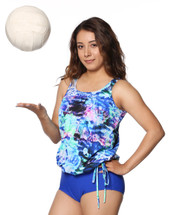 T.H.E. Blouson Mastectomy Swim Top Separate in Ocean Rose Print Women's Sizes