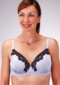 Classique Mastectomy Bra - 718 Seamless Flex Underwire Fashion Bra - Lavender with Black Lace