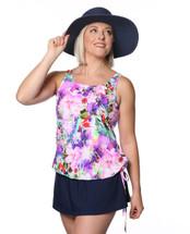 THE Mastectomy Swimsuit - Blouson Swim Top Separate in Plumeria  Paradise
