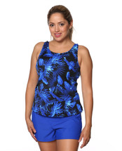 High Neck Tankini Mastectomy Swim Top Separate in Electric Blue Print by T.H.E.  - Blue and Black floral/leaf print