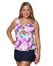 Wear Your Own Bra Blouson Swim Top by THE in Plumeria Paradise