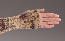 Lymphedivas Compression Gauntlet for lymphedema in Mariposa Beige pattern