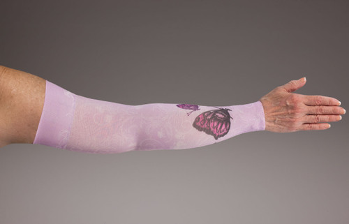 Lymphedivas Compression Gauntlet for lymphedema in Mariposa Pink pattern