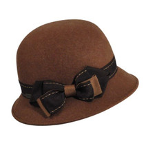 Betmar Pine Cloche Wool Hat with Bow