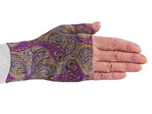 Lymphedivas Compression Gauntlet for lymphedema in Purple Paisley pattern