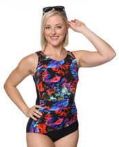 Draped Mastectomy Swim Tank by T.H.E. in Neon Nights Print