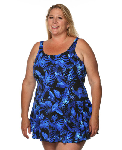 Princess Mastectomy Swimdress in Electric Blue Print in Women's Sizes by T.H.E. - Blue Floral Print