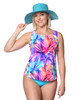 High Neck  Mastectomy Swim Top Separate  in Heavenly Hibiscus by T.H.E.