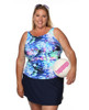 High Neck  Mastectomy Swim Top Separate  in Ocean Rose by T.H.E.