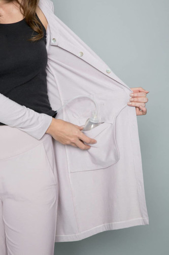 Drain Management- Heal With Style Laid Back Lounge Shirt by Eva and Eileen in Silver Peony
