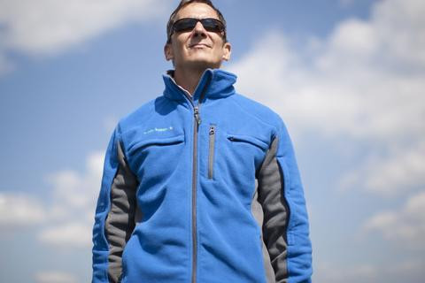 Men's Blue Polar Fleece Jacket for Chemo & Dialysis by Chemo Cozy