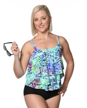 Triple Tier Tankini Swim Top Separate - Monet Print in Women's Sizes by T.H.E