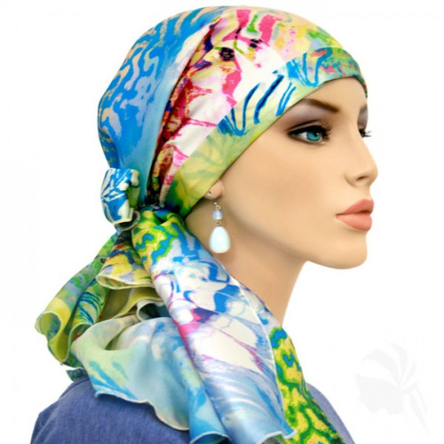 Silk Calypso Headscarf for chemo/cancer patients in Summer Abstract print