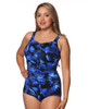 Shirred Girl Leg Mastectomy Swim Tank by THE in Electric Blue Print